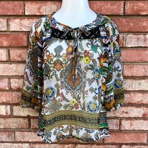 Fig and Flower boho peasant blouse